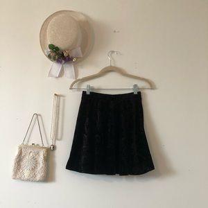 Velvet Black Filigree Skater Skirt size Small F21